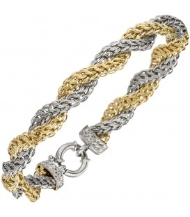 Armband 375 Gold Weißgold Gelbgold bicolor diamantiert 21 cm Goldarmband.
