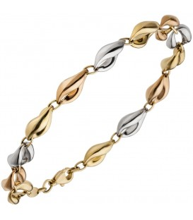 Armband 585 Gold Gelbgold Rotgold Weißgold tricolor dreifarbig 19 cm Goldarmband.