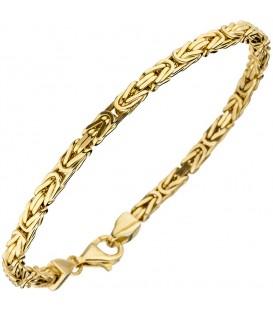 Königsarmband 925 Sterling Silber gold vergoldet diamantiert 21 cm Armband.