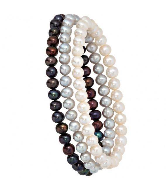 Perlenarmbänder 3er Set Süßwasser Perlen Armband Armbänder endlos.