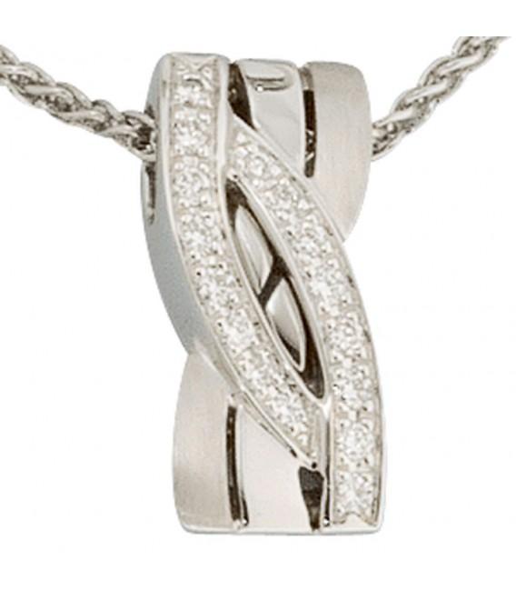 Anhänger 585 Gold Weißgold mattiert 16 Diamanten Brillanten Goldanhänger.