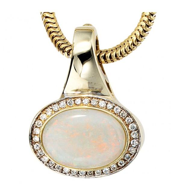 Einhänger Anhänger 585 Gold Gelbgold 34 Diamanten Brillanten 1 Opal Goldanhänger. Zoom