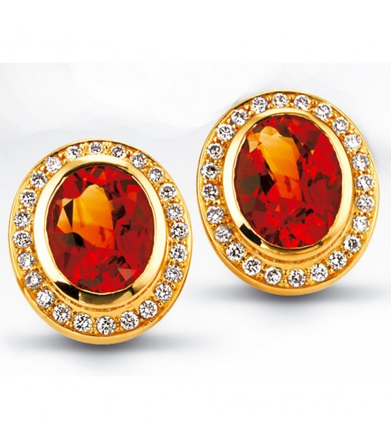Ohrstecker oval 585 Gold Gelbgold 48 Diamanten 2 Citrine orange Ohrringe.