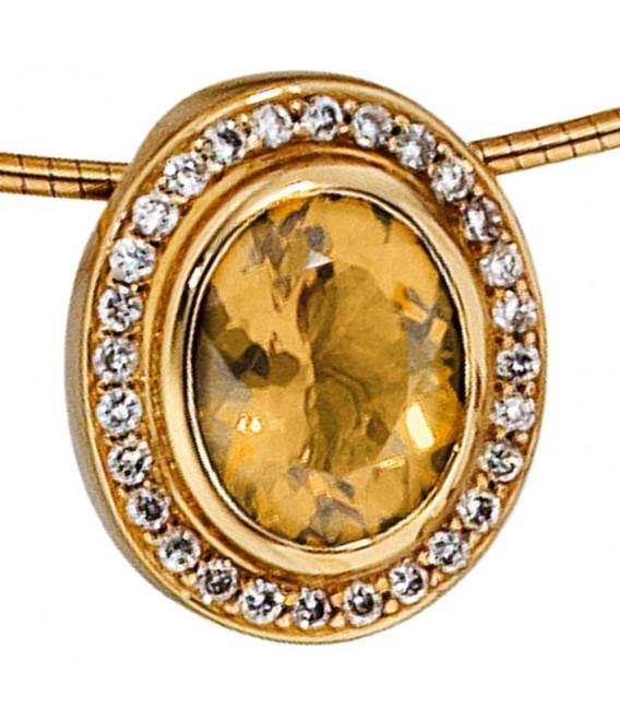 Anhänger oval 585 Gold Gelbgold 28 Diamanten Brillanten 0,23ct. 1 Citrin orange. Zoom