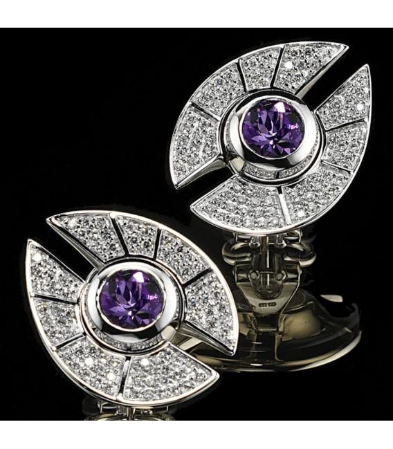 Ohrstecker 585 Gold Weißgold 150 Diamanten 2 Amethyste lila violett Ohrringe. Zoom