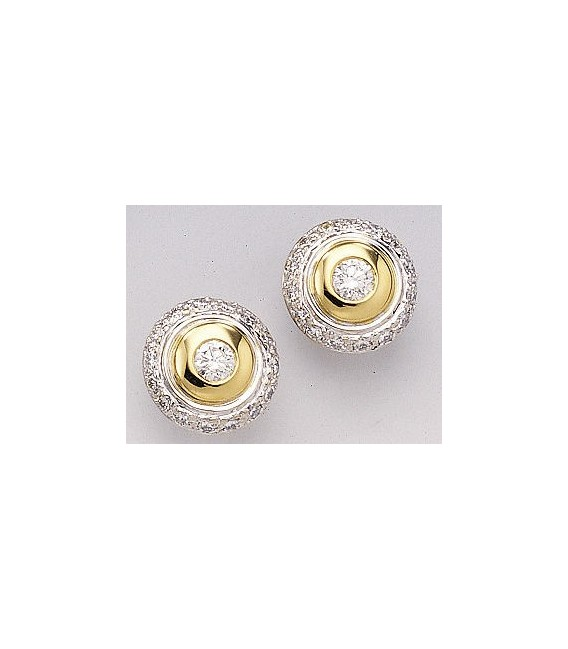 Ohrstecker 585 Gold Weißgold Gelbgold bicolor 32 Diamanten Brillanten Ohrringe Zoom