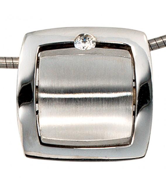 Anhänger quadratisch 950 Platin mattiert 1 Diamant Brillant Platinanhänger.