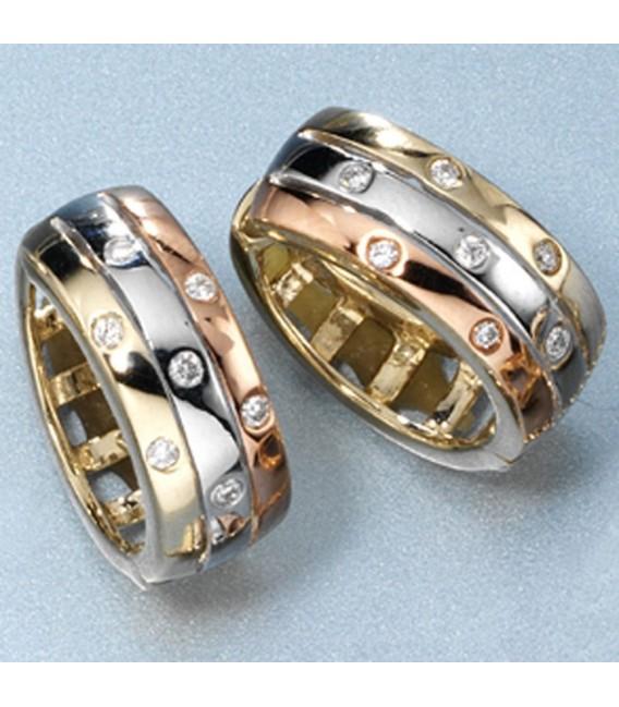 Creolen 333 Gold Gelbgold tricolor dreifarbig 14 Diamanten Brillanten Ohrringe. Zoom