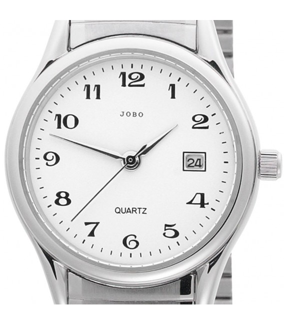 JOBO Damen Armbanduhr Quarz Analog Edelstahl Flexband Datum Damenuhr.