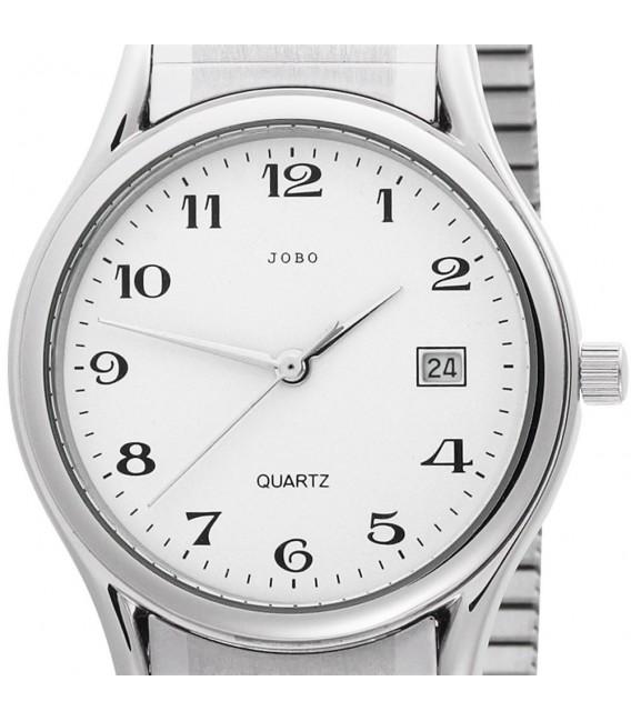 JOBO Herren Armbanduhr Quarz Analog Edelstahl Flexband Datum Herrenuhr.