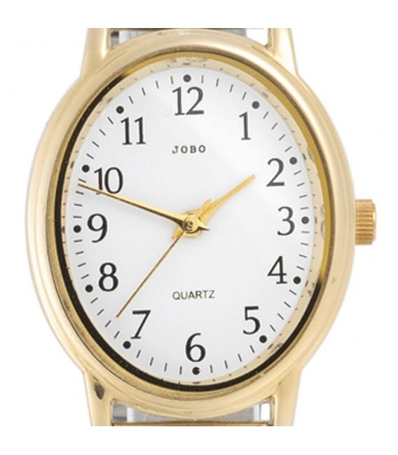 JOBO Damen Armbanduhr Quarz Analog Edelstahl vergoldet Flexband Damenuhr oval. Zoom