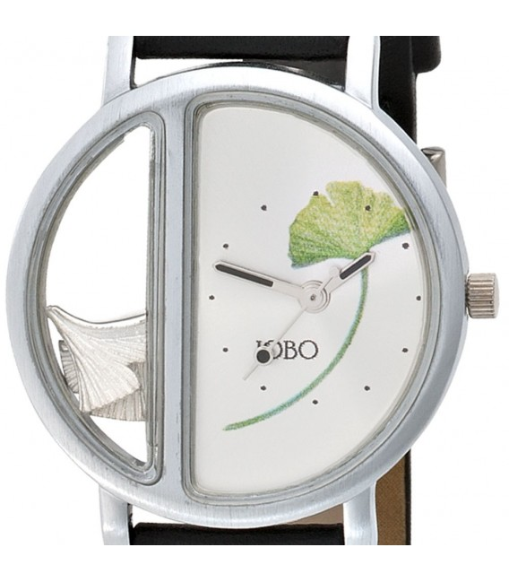 JOBO Damen Armbanduhr Ginko Ginkgo Quarz Analog Messing Leder Damenuhr.