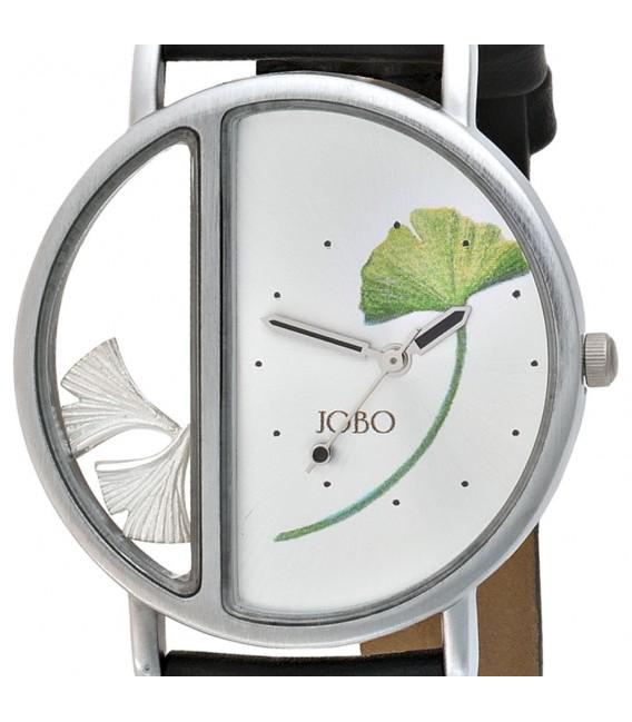 JOBO Herren Armbanduhr Quarz Analog Ginko Ginkgo 925 Sterling Silber Leder.