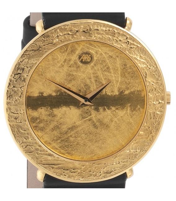 ARS Herren-Armbanduhr Quarz Analog 750 Gold Gelbgold Lederband Safirglas.