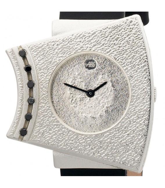 ARS Damen-Armbanduhr Quarz Analog 925 Sterling Silber Lederband Mineralglas.