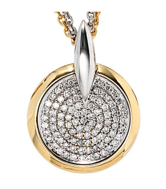 Anhänger rund 585 Gold Gelbgold Weißgold bicolor 91 Diamanten Brillanten.