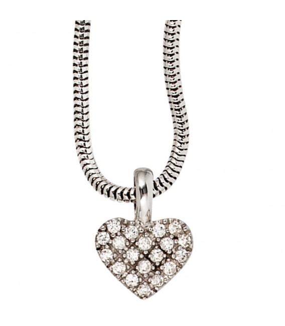 Anhänger Herz 585 Gold Weißgold 19 Diamanten Brillanten Diamantenanhänger. Zoom