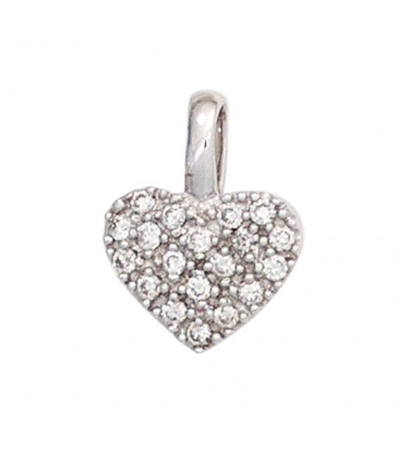 Anhänger Herz 585 Gold Weißgold 19 Diamanten Brillanten Diamantenanhänger. Bild 3 Zoom