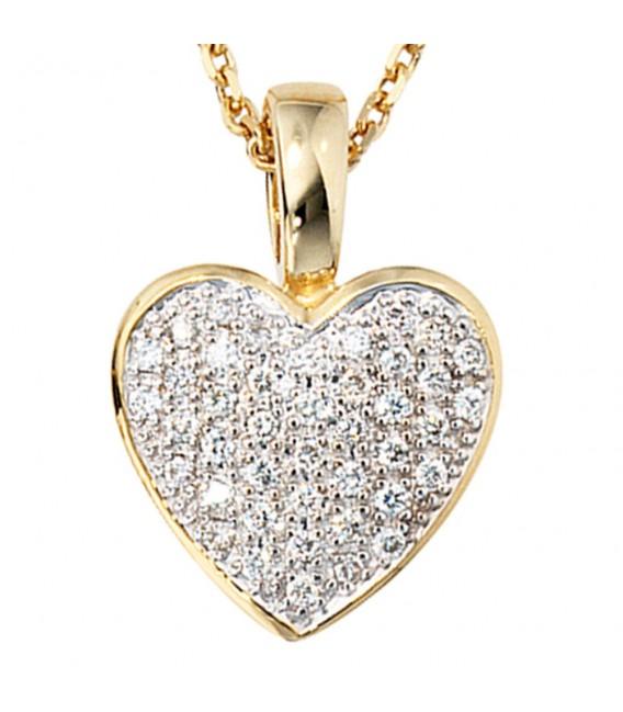 Anhänger Herz 585 Gold Gelbgold 42 Diamanten Brillanten 0,25ct. Herzanhänger. Zoom