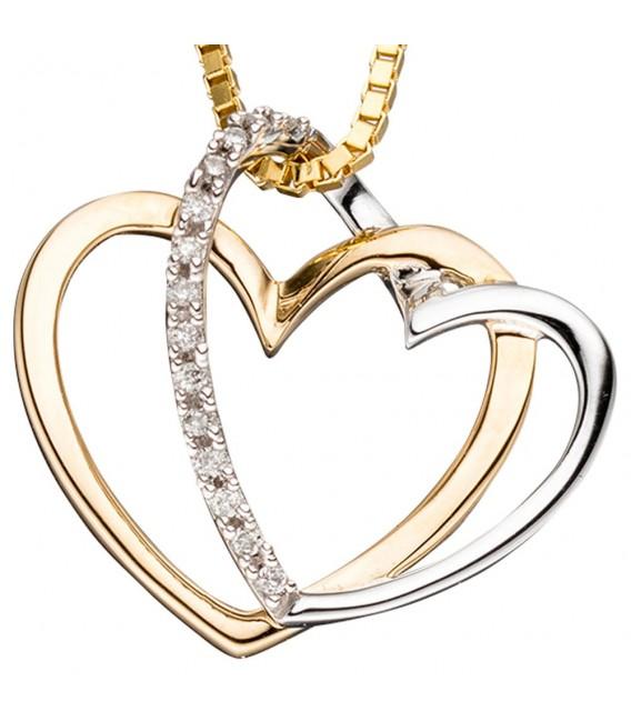 Anhänger Herzen 585 Gold Gelbgold bicolor 14 Diamanten Brillanten Herzanhänger.