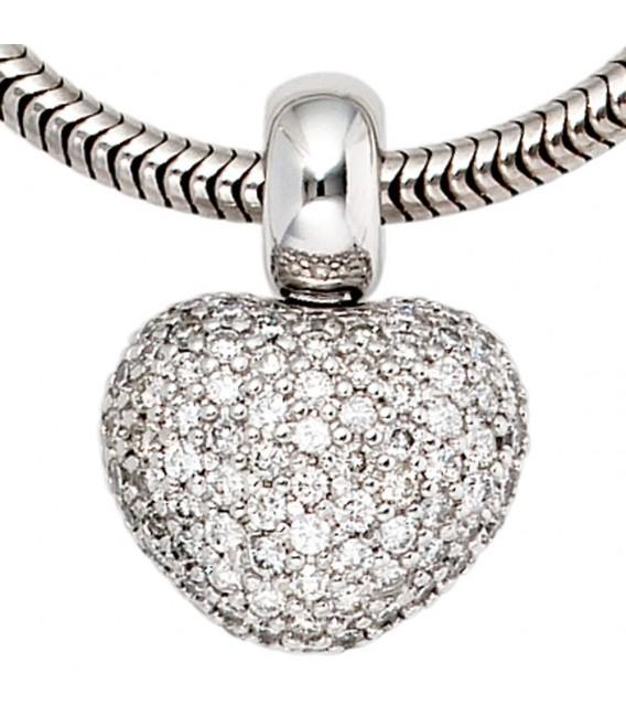Anhänger Herz 585 Gold Weißgold 107 Diamanten Brillanten Herzanhänger.