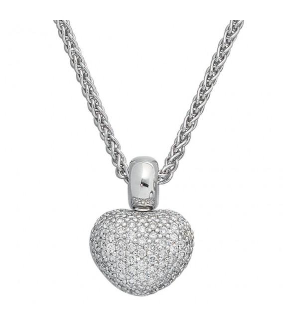 Anhänger Herz 585 Gold Weißgold 107 Diamanten Brillanten Herzanhänger. Bild 3