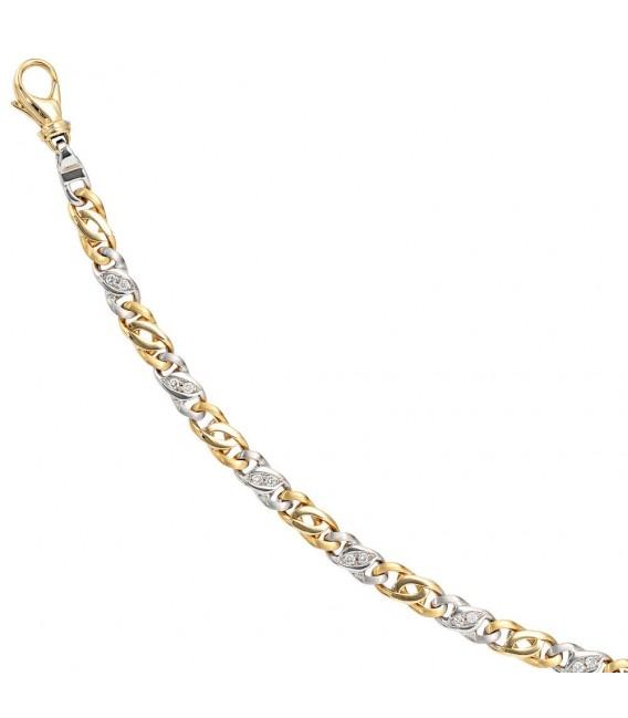 Armband 585 Gold Gelbgold Weißgold bicolor 16 Diamanten Brillanten 18,5 cm.