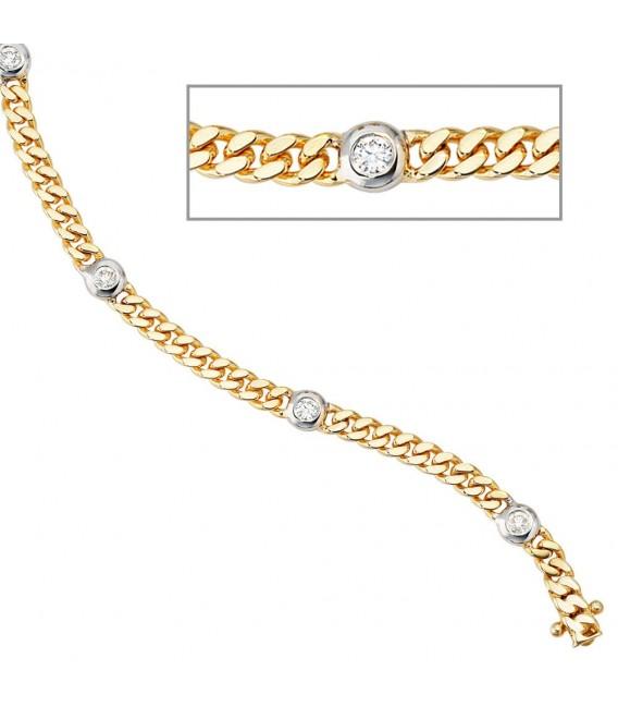 Armband 585 Gold Gelbgold Weißgold bicolor 6 Diamanten Brillanten 19 cm.