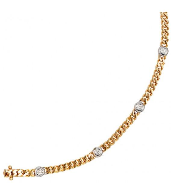 Armband 585 Gold Gelbgold Weißgold bicolor 6 Diamanten Brillanten 19 cm. Bild 3