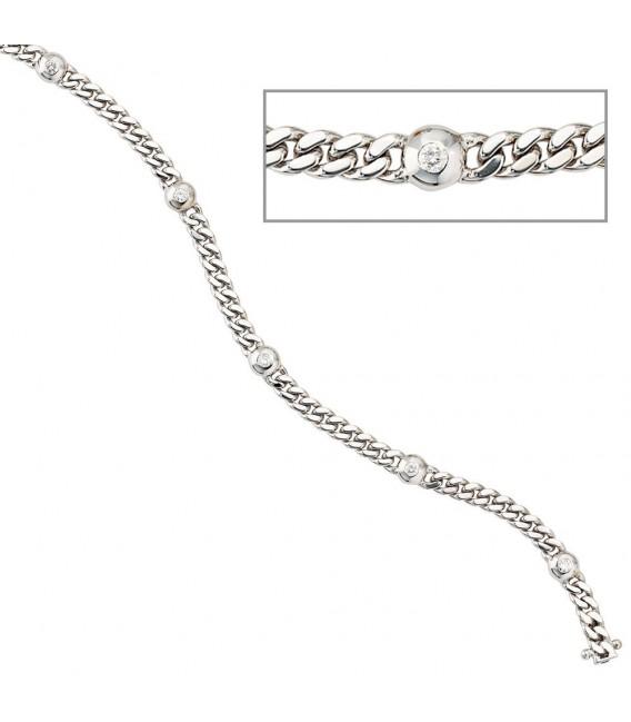 Armband 585 Gold Weißgold 6 Diamanten Brillanten 0,30ct. 19 cm Weißgoldarmband.
