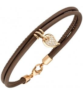 Armband 2-reihig Leder taupe - 4053258346686