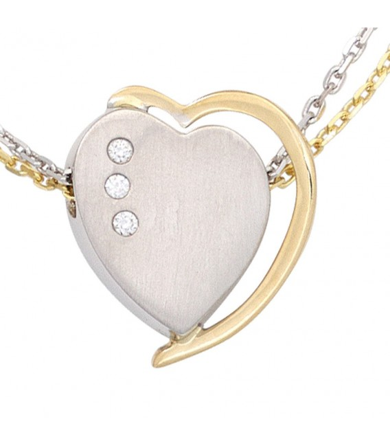 Anhänger Herz 585 Gold Weißgold Gelbgold bicolor matt 3 Diamanten Brillanten.