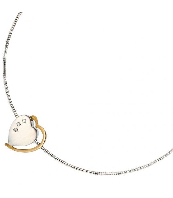 Anhänger Herz 585 Gold Weißgold Gelbgold bicolor matt 3 Diamanten Brillanten. Bild 3