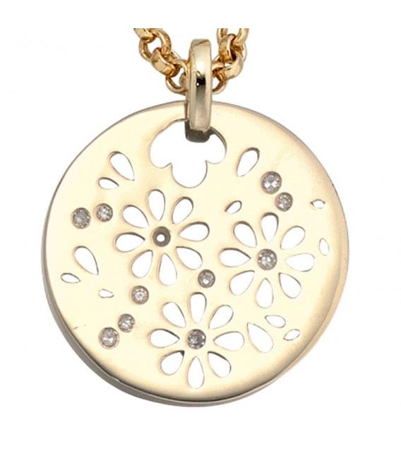 Anhänger Blumen rund 585 Gold Gelbgold 11 Diamanten Goldanhänger Blumenmuster.