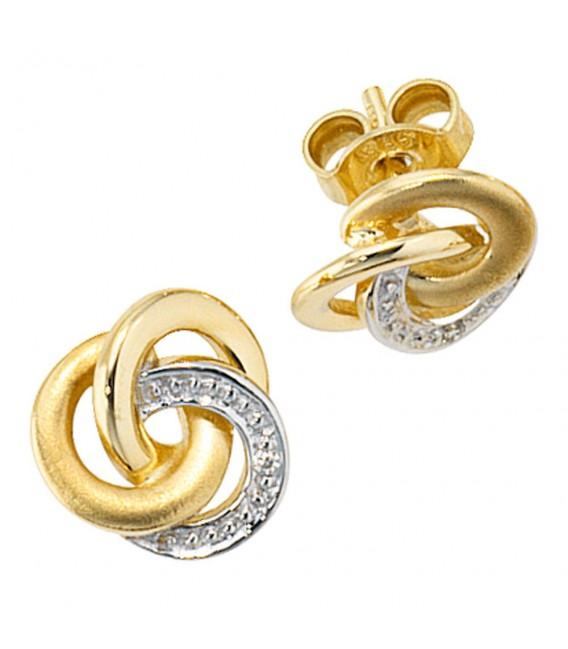 Ohrstecker Knoten verschlungen 585 Gold Gelbgold bicolor 2 Diamanten Ohrringe.