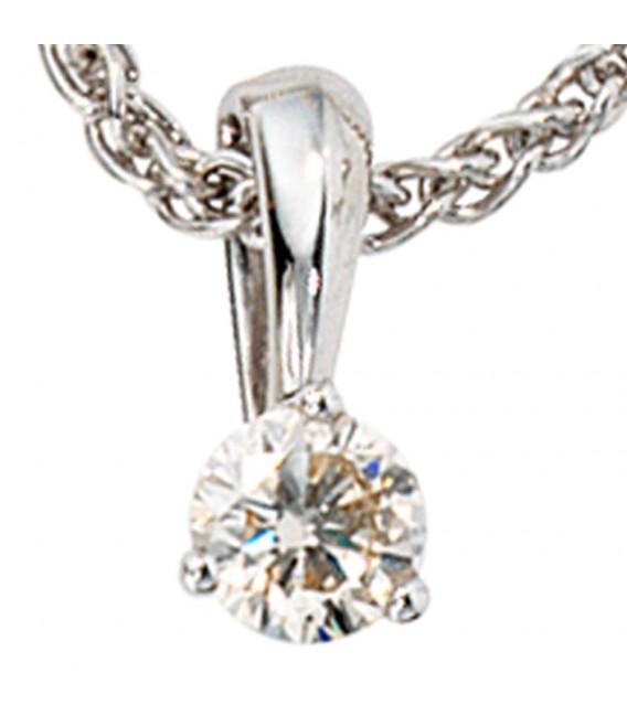 Anhänger 585 Gold Weißgold 1 Diamant Brillant 0,25ct. Solitär Diamantanhänger.