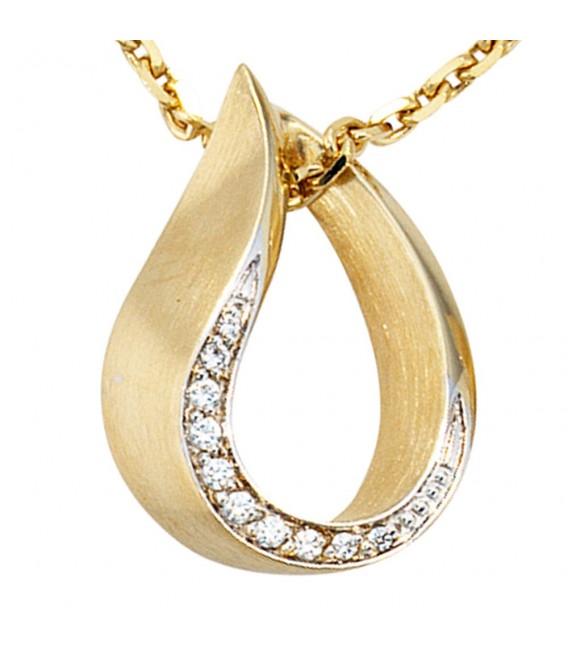 Anhänger Tropfen 585 Gold Gelbgold bicolor teilmatt 10 Diamanten Brillanten.