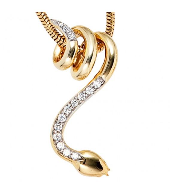 Anhänger Schlange 585 Gold Gelbgold 14 Diamanten Brillanten Schlangenanhänger.