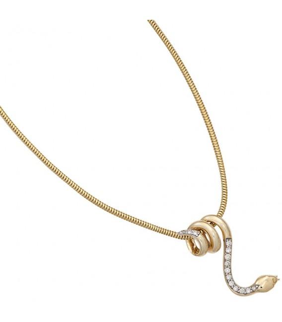 Anhänger Schlange 585 Gold Gelbgold 14 Diamanten Brillanten Schlangenanhänger. Bild 3