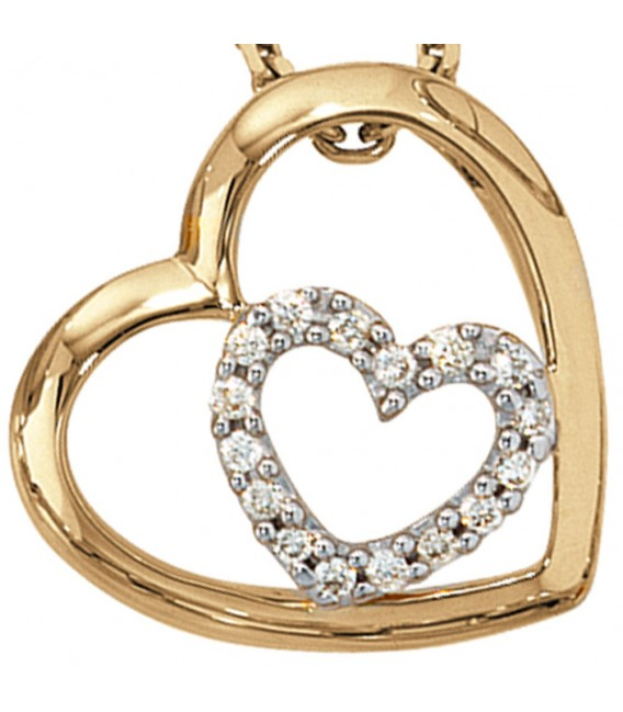 Anhänger Herz 585 Gold Gelbgold 16 Diamanten Brillanten 0,12ct. Herzanhänger. Zoom