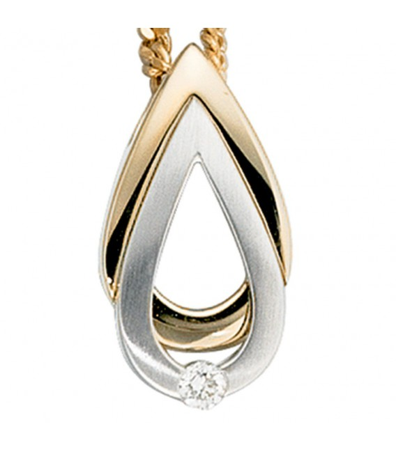 Anhänger Tropfen 585 Gold Gelbgold Weißgold bicolor matt 1 Diamant Brillant.