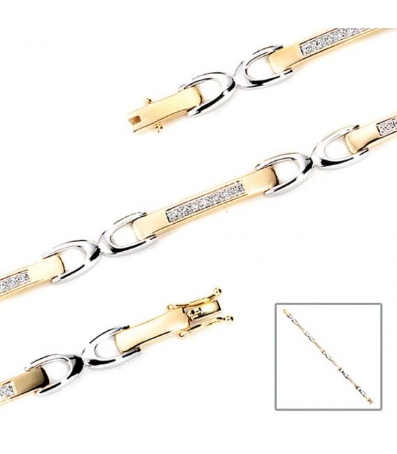 Armband 585 Gold Gelbgold Weißgold bicolor 28 Diamanten Brillanten 18 cm.