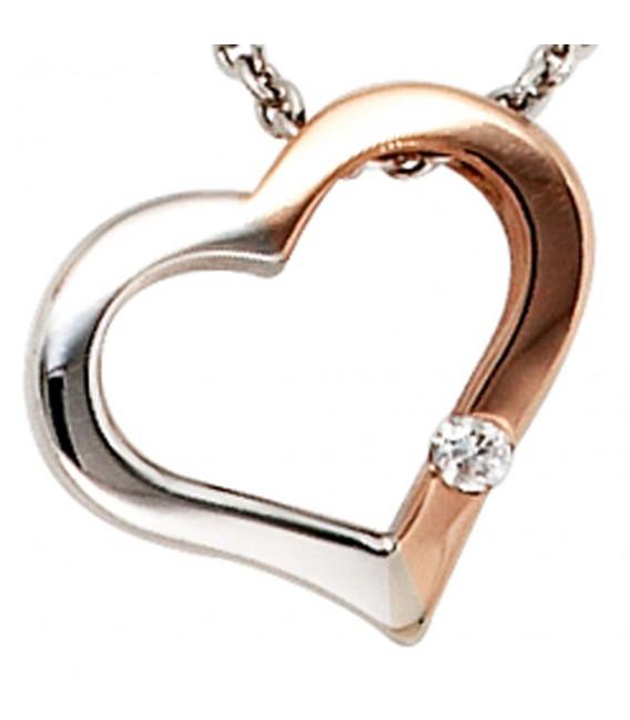 Collier Kette mit Anhänger Herz 585 Gold bicolor 1 Diamant Brillant 42 cm. Zoom