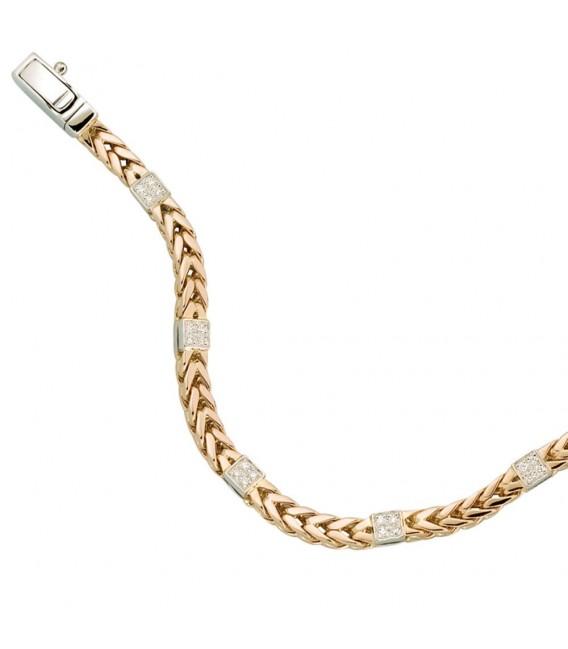 Armband 585 Gold Rotgold Weißgold bicolor 28 Diamanten Brillanten 19 cm.