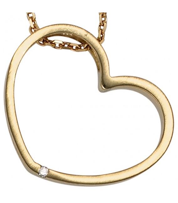 Anhänger Herz 585 Gold Gelbgold matt 1 Diamant Brillant Herzanhänger Goldherz.
