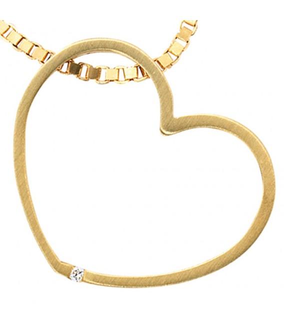 Anhänger Herz 585 Gold Gelbgold matt 1 Diamant Brillant Herzanhänger Goldherz. Bild 3