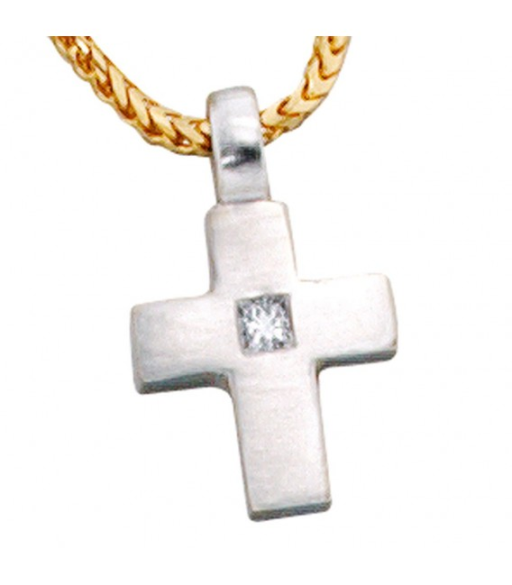 Anhänger Kreuz 950 Platin 1 Diamant 0,06ct. Kreuzanhänger Platinkreuz.