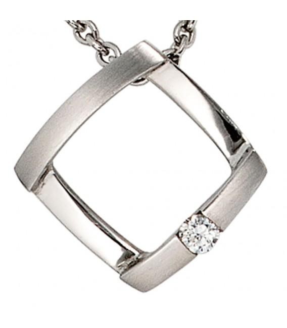 Anhänger 950 Platin matt 1 Diamant Brillant 0,03ct. Platinanhänger.