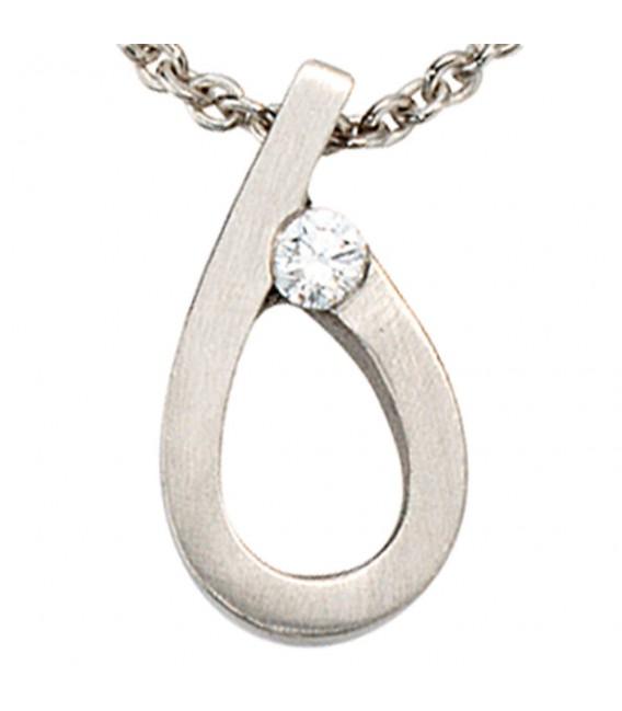 Anhänger Tropfen 950 Platin matt 1 Diamant Brillant Platinanhänger. ...
