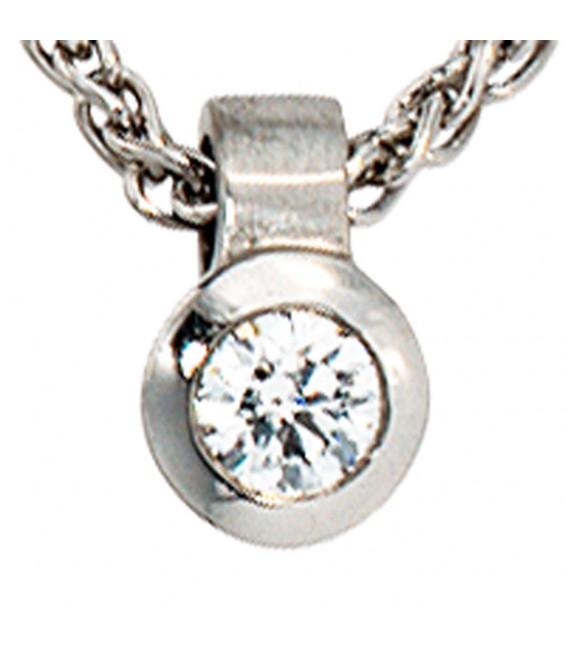Anhänger rund 950 Platin matt 1 Diamant Brillant 0,12ct. Platinanhänger. Zoom